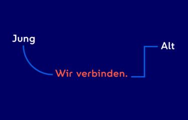 """Infografik links steht was Wort """"Jung"""", dann """"Wir verbinden"""" und dann """"Alt"""""""