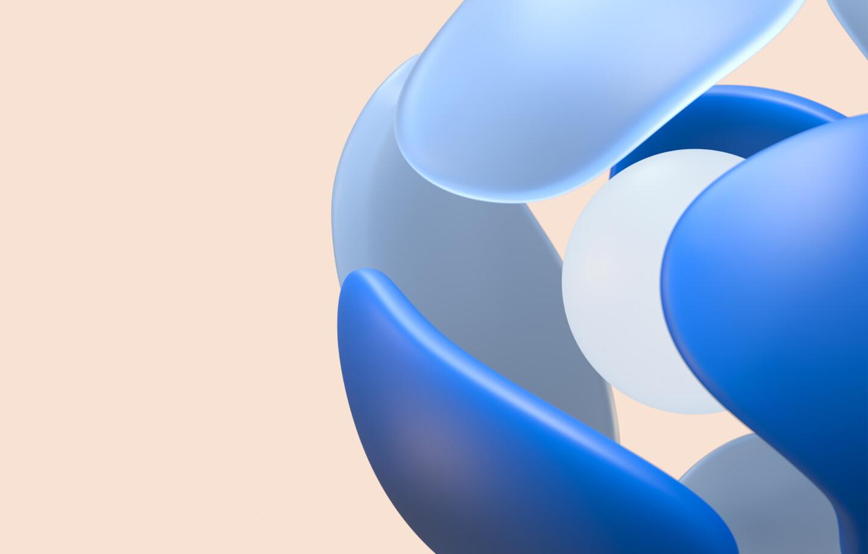 Abstraktes Rendering: Aus mehreren Elementen entsteht ein Ball.