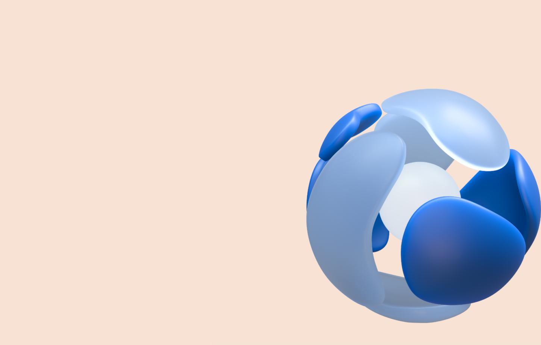 Schematische Darstellung: Mehrere Elemente umschließen eine Kugel.