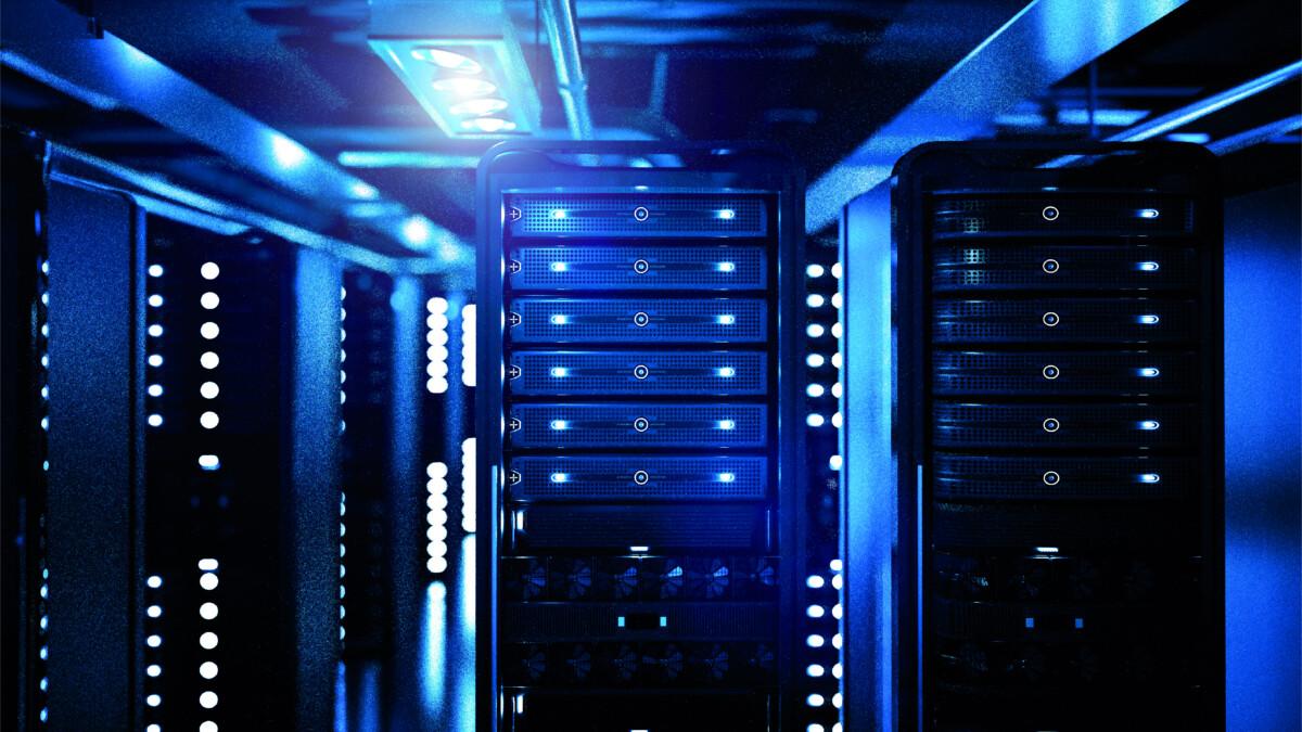Foto eines Rechenzentrums mit Serverschränken